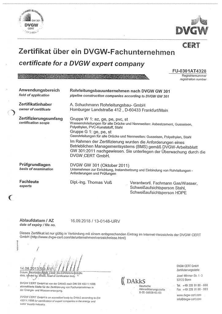 DVGW-Zertifikat-G1-W1